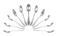 Collection of teaspoons in different perspectives Royalty Free Stock Photo