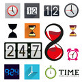 Collection of time icons a flat with clocks and timers Royalty Free Stock Photos