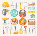 Collection of tools for house remodeling building construction and labels hardware store Royalty Free Stock Photo