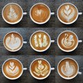 Collection of top view of latte art coffee mugs. Royalty Free Stock Photo