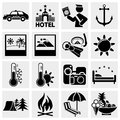 Collection of tourism travel sports vector icons set isolated on grey background eps file available Stock Photos