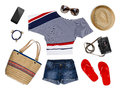 A collection of tourist clothes and accessories isolated on white Royalty Free Stock Photo