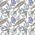 Collection of traditional Portuguese icons in seamless pattern. Royalty Free Stock Photo