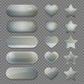Collection of transparent glass app buttons