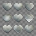 Collection of transparent glass heart shape app buttons