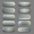 Collection of transparent glass rounded rectangle shape app buttons