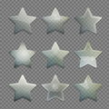 Collection of transparent glass star shape app buttons