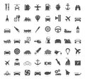 Collection transport of icons a vector illustration Royalty Free Stock Photo