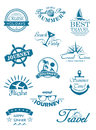 Collection of travel icons in blue depicting journey summer beach party flights and cruises for use in the tourist industry Stock Images