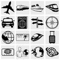 Collection of travel and tourism vector icons set isolated on grey background eps file available Royalty Free Stock Photos