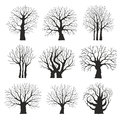Collection of trees silhouettes different Royalty Free Stock Image