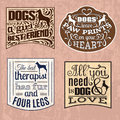 Collection of trendy quote typographical background about dog