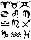 Collection twelve zodiac signs shape zodiac symbols zodiac symbols stylised zodiac signs Stock Photos
