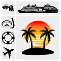 Collection of vacation travel and recreation vector icons set on grey background eps file available Royalty Free Stock Images