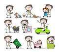 Collection Of Various Cartoon Professional working household tasks Royalty Free Stock Photo