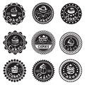 Collection of various cupcakes labels monochrome nine Royalty Free Stock Photography