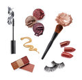 Collection of various make up accessories isolated on white Royalty Free Stock Image