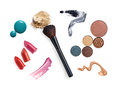 Collection of various make up accessories isolated on white Stock Photo