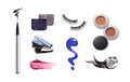 Collection of various make up accessories isolated on white Royalty Free Stock Photos