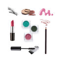 Collection of various make up accessories isolated on white Stock Photos