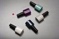 Collection of various nail polish bottles Royalty Free Stock Photo