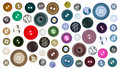 Collection of various sewing button on white Royalty Free Stock Photo