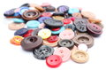 Collection of various sewing buttons on white background Royalty Free Stock Photo