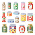 Collection of various tins canned goods food metal container grocery store and product storage aluminum flat label