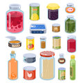 Collection of various tins canned goods food metal and glass container vector illustration.