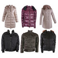 Collection of various types of winter jackets Stock Images