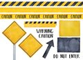 Collection of various warning signs, seamless caution tapes, text messages and attension symbols.