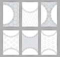 Collection of vector card templates with geometric ornament. Royalty Free Stock Photo