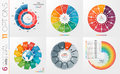 Collection of 6 vector circle chart templates 11 options.