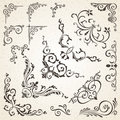 Collection of vector corners in vintage style and victorian decorative book or invitation design elements