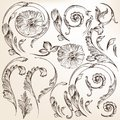 Collection of vector decorative swirl floral set elements for design calligraphic Royalty Free Stock Photos