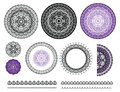 Collection vector elements of mandala. Round pattern, frames, label, borders in black and purple colors.