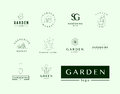 Collection of vector flat elegant logo template for gardening companies service brand mark graphic sample Royalty Free Stock Image