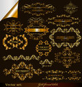 Collection of vector gold-framed labels premium Stock Images