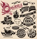 Collection of vector grill signs symbols labels and icons set design elements badges stickers food set Stock Photos