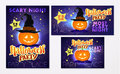 Collection of vector halloween cards. Royalty Free Stock Photo