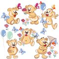 Collection of vector hand drawn cartoon bears for childish desig Royalty Free Stock Photo