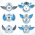 Collection of vector heraldic decorative coat of arms isolated o