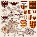 Collection of vector heraldic elements for design set luxury royal vintage your Stock Photo
