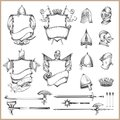 Collection of vector heraldic elements, helmets and medieval weapons Royalty Free Stock Photo
