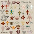 Collection of vector heraldic fleur de lis and crowns set luxury royal vintage elements for your design Stock Image