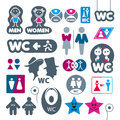 Collection of vector labels toilet Royalty Free Stock Photo