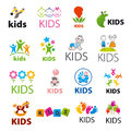 Collection of vector logos children biggest Stock Image