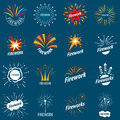 Collection of vector logos for fireworks Royalty Free Stock Photo