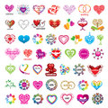 Collection of vector logos hearts and valentines