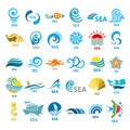 Collection of vector logos sea big Stock Photography